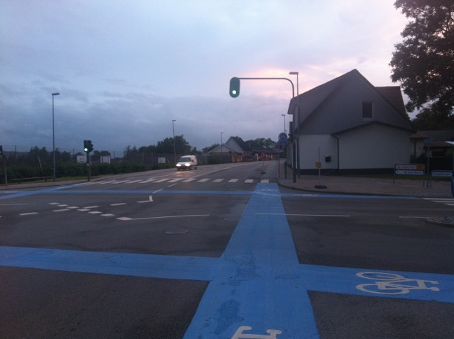 Bicycle markings at intersections in Denmark.